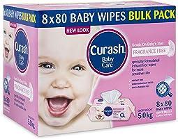 Curash Fragrance Free Baby Wipes 8X80PK