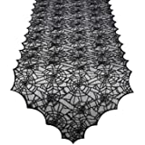 ibohr Halloween Table Runner with Spider Web Lace Festival Table Runner Halloween Table Decoration for Parties & Gatherings,
