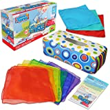 Sensory Pull Along Toddler Infant Baby Tissue Box - Colorful Juggling Rainbow Dance Scarves for Kids STEM Montessori Educatio
