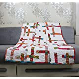 RAJRANG BRINGING RAJASTHAN TO YOU Patchwork Country Rustic Decorative Throw Blanket Multi Color Super Soft Warm Indian Vintag