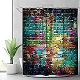 Cdcurtain RiyidecorColorful Brick WallShower Curtain Painting Watercolor Teal Hip Hop Decor Fabric Bathroom Set Polyester W