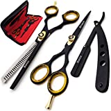 Brance BSS-01 Professional/Salon/Home/Pet | Hairdresser Shears Set Includes Thinning//Texturizing Scissors + Straight Razor a