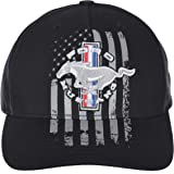 Checkered Flag Men's Ford Mustang Cap Distressed American Flag Adjustable Black Hat