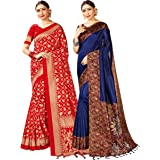Pack of Two Sarees for Women Mysore Art Silk Printed Indian Wedding Saree | Diwali Gift Sari Combo