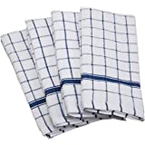DII 100% Cotton, Machine Washable, Ultra Absorbant, Basic Everyday 16 x 26 Terry Kitchen Dish Towel, Set of 4- Blue Window Pa