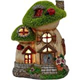 TERESA'S COLLECTIONS Flocked Big and Mini Mushroom House Fairy Garden Statue, Outdoor Resin Statues with Solar Lights, Garden