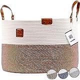 "Romantic Brown XXXLarge Laundry Basket - 21.7x21.7x13.8"" Cotton Rope Basket for Blankets Kids Toys Storage Baskets Handle Com"