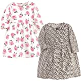 Little Treasure Toddler and Baby Girl Cotton Dresses, Leopard/Rose Long-Sleeve Pack