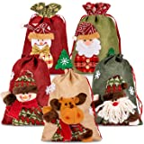 Whaline Drawstring Christmas Bags, 3D Xmas Gift Bags, Christmas Wrapping Bags, Xmas Goodie Bags, Red Treat Pouch Bags, Sack S