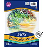 "UCreate Watercolor Paper, White, Package, 140 lb, 9"" x 12"", 50 Sheets"
