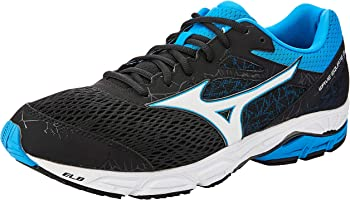 Mizuno Men's Wave Equate Shoes, Black/White/Diva Blue, 10 US