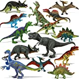 """Joyin Toy 18Piece 6"""" to 9"""" Educational Realistic Dinosaur Figures with Movable Jaws Including T-Rex, Triceratops, Velocirapto"""