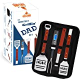 Dad BBQ Grill Set with Carry Case - 4-Piece Includes Spatula, Tongs, Digital Thermometer, Basting Brush and Case - Great Fath