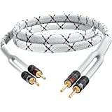 GearIT 14AWG Premium Heavy Duty Braided Speaker Wire (10 Feet) with Dual Gold Plated Banana Plug Tips - Oxygen-Free Copper (O