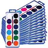 Neliblu Watercolor Paint Set for Kids - Bulk Set of 24 - Washable Paints in 12 Colors - Perfect for Home, School and Party- P