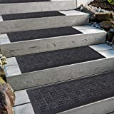 """Aucuda Stair Treads with Rubber Backing,Non-Slip,Indoor Outdoor Step treads,Grey Stripes Pattern,8.5"""" x 30"""",4 pcs/Set"""