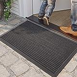 DEXI Outdoor Door Mat, 29x17 Durable Rubber Doormat for Indoor Outdoor, Heavy Duty, Waterproof, Low-Profile Front, Back Door