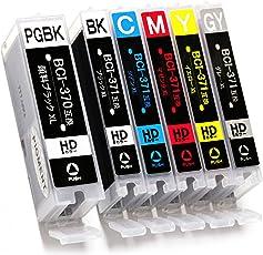 【ヨコハマトナー】 キヤノン(Canon) 用 BCI-371XL(BK/C/M/Y/GY)+370XL 互換インク 6色マルチパック 大容量タイプ BCI-371XL+370XL/6MP