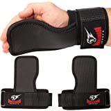 Armageddon Sports Weight Lifting Hand Grips Workout Pads with with Built in Adjustable Wrist Support Wraps for Power Lifting