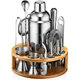 Mixology Bartender Kit: 15-Piece Bar Set Cocktail Shaker Set with Stylish Bamboo Stand | Perfect for Home Bar Tools Bartender