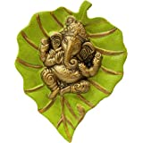 Charmy Crafts Metal Ganesha On Leaf, Wall Hanging Article for Wall Decor, Wedding Gifts, Best for Housewarming, Room Decor (P