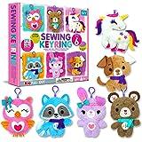KRAFUN Unicorn Sewing Keyring Kit for Kids Age 7 8 9 10 11 12 Beginner Art & Craft, Includes 6 Stuffed Animal Bear, Dog, Rabb