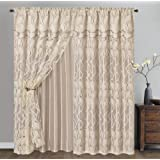 Light GRACE. Clipped voile, voile jacquard window curtain panel drape with attached double valance and taffeta backing. 2pcs