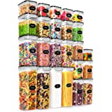 24 Pack Airtight Food Storage Containers - Wildone BPA Free Plastic Dry Food Canisters with Durable Lids for Kitchen Pantry O