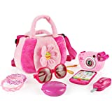 SainSmart Jr. Toddler Purse My First Purse Pretend Play Set 9 PCS Pretty Role Play for Girls Educational Pretend Toy for Pres