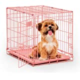 "Pink Dog Crate | Midwest iCrate 24"" Pink Folding Metal Dog Crate w/Divider Panel, Floor Protecting Feet & Leak Proof Dog Tray"