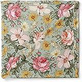 Garden Floral Swaddle (Sea Foam) - Mini Scout Soft Muslin Nursery Newborn Baby Girl Blanket Registry Essentials
