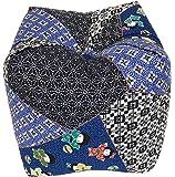 正座クッション サイコロクッション 天然そば殻 15x15cm わらび柄 日本製 (ブルー)