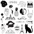 RipDesigns - 20 Black and White Stickers for Water Bottles, Laptops (Series 14)