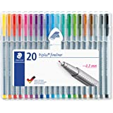 Staedtler Fineline Pen Triplus, 20 Assorted, Brilliant Colours, Wallet of 20 (334 SB20)