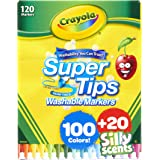 Crayola Super Tips Marker Set, Washable Markers, Assorted Colors, 120 Ct