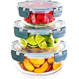Igluu Meal Prep - Set of 3 Stackable Glass Round Containers - Lunch Box for Food Storage, Freezer, Microwave & Oven - Dishwas