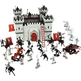 DIY Castle Building The Medieval Times Middle Ages Military Plastic Fort Model Kit Set with Figures Soldier Knight Simulated