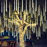 Joiedomi 2Packs Christmas Meteor Shower Lights Falling Rain Drop Icicle String Lights 240 LEDs 8 Tube 30cm/12inch (Warm White