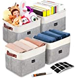 Artsdi Set of 4 Large Foldable Storage Baskets, 8 Labels & a Pen, Faux Leather Sturdy Handles, Collapsible Cationic Fabric St