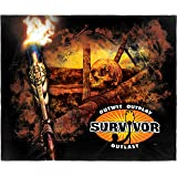 """INTIMO Survivor TV Series Outwit Outplay Outlast Super Soft and Cuddly Plush Fleece Throw Blanket 50"""" x 60"""" (127cm x152cm)"""