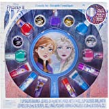 Townley Girl Disney Frozen 2 Non-Toxic Peel-Off Nail Polish, Lip Gloss and Mirror Set for Girls, Glittery and Opaque Colors,
