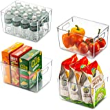 Set Of 4 Clear Pantry Organizer Bins Household Plastic Food Storage Basket with Cutout Handles for Kitchen, Countertops, Cabi