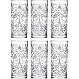 Highball - Glass - Set of 6 - Hiball Glasses - Lead Free Crystal - Beautiful Tattoo Design - Drinking Tumblers - for Water, J