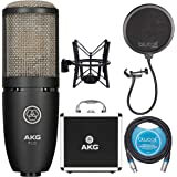 AKG P220 Large-diaphragm Condenser Microphone for Vocal Recording BUNDLED WITH Blucoil 10-Ft Balanced XLR Cable AND Pop Filte