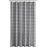 Biscaynebay Printed Fabric Shower Curtain, Plaid Bathroom Curtain 72 by 72 Inch (Plaid Black & Gray)