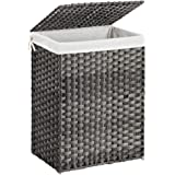 SONGMICS Handwoven Laundry Hamper, Synthetic Rattan Laundry Basket with Removable Liner Bag, Clothes Hamper with Handles for