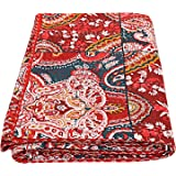 Floral print Indian Patch Work Cotton Kantha Quilt Queen Bedspreads Throw Blanket Bohemian Bedspread , Bohemian Bedding , Han