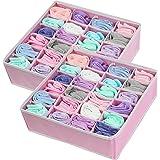 2 Pack - Simple Houseware Closet Socks Organizer, 24 Cell Drawer Divider, Pink