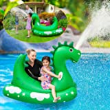 Inflatable Pool Float for Kids Adults - Kids Sprinklers Pool Toys Ride-on Dinosaur Splash Pool Raft with 2 Handles, Summer Sw