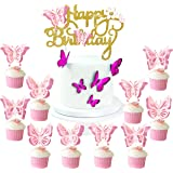 25pcs Butterfly Party Happy Birthday 3D Glitter Cake Cupcake Toppers,Butterfly Theme Party Decoration,Wedding Baby Shower Fav